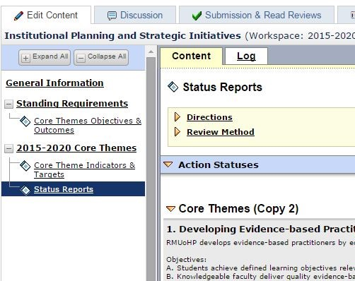 Sample Core Theme workspace structure in Taskstream's AMS Assessment solution