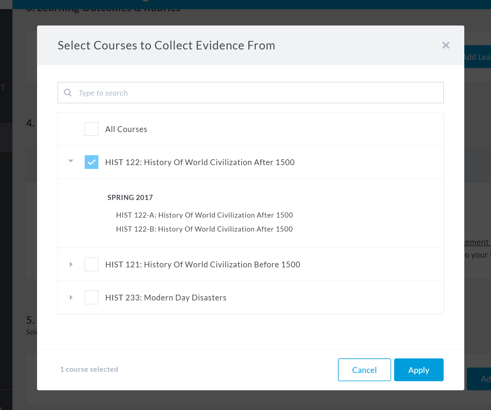 Select Courses to Collect Evidence From
