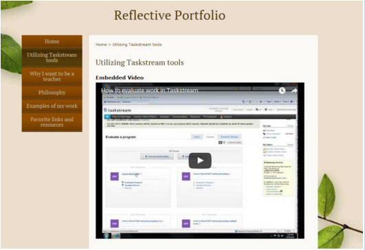 Example of a video embedded into an e-portfolio
