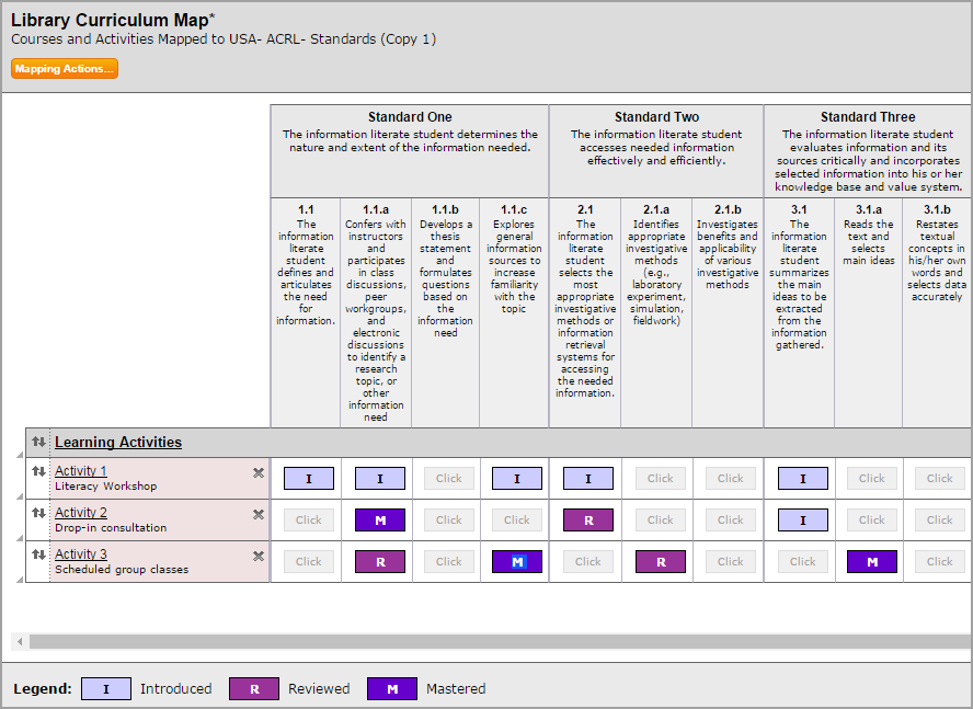 Library Curriculum Map
