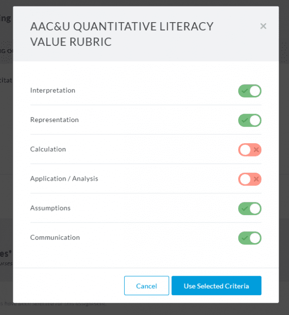 Setting Faculty Criteria in Aqua
