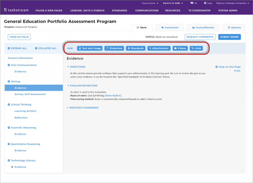 general education portfolio assessment program by watermark and taskstream