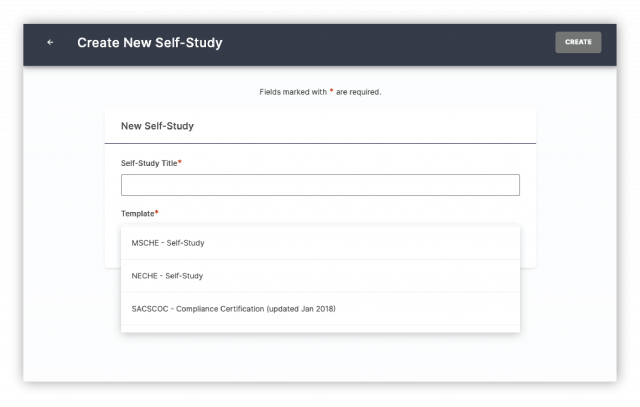 create a new self-study with watermark - templates for accreditation SACS