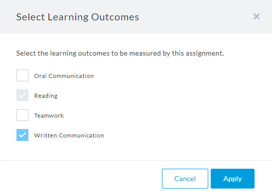 select learning outcomes to analyze with watermark
