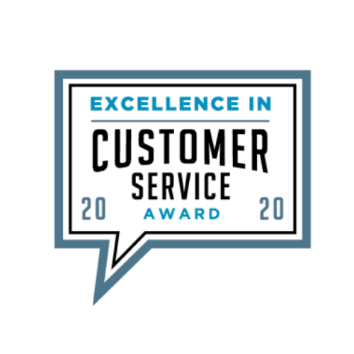 Award badge fo Excellence in Customer Service.