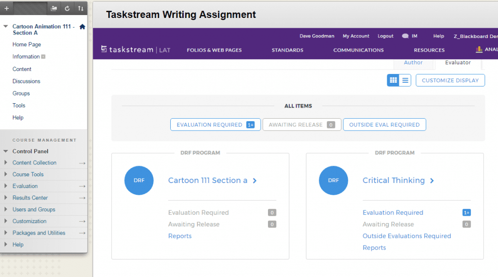 taskstream writing assignment example from watermark