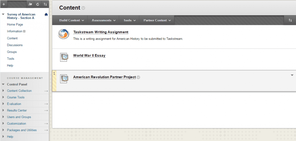 listing taskstream assignments with watermark
