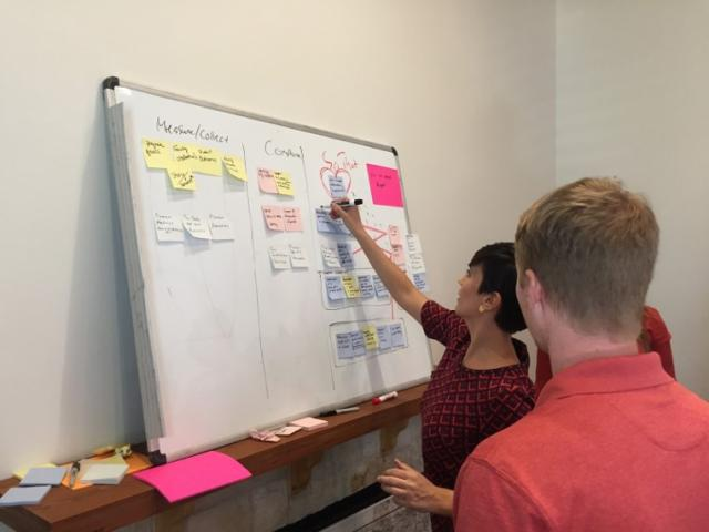 Jared Hopper and Montse Lobos map out objectives for shared goals.