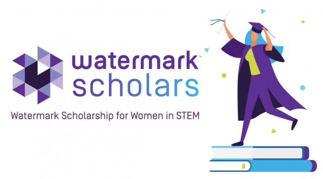 Image of a student and the Watermark Scholars logo.