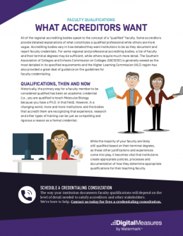 faculty qualifications and what accreditors want