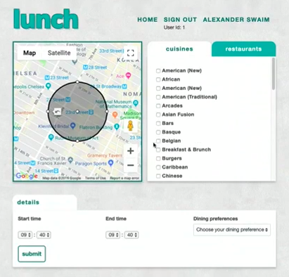 Lunch is a web app used in the NYC hackathon with watermark