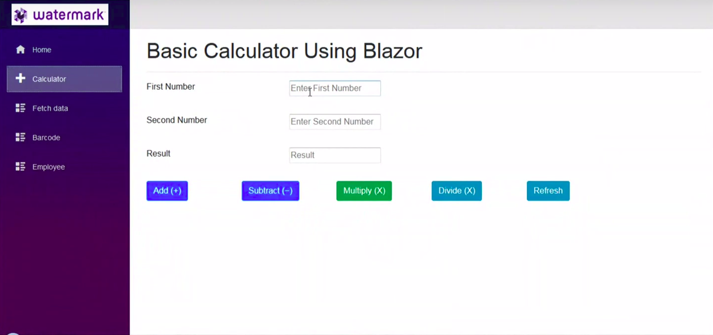 basic calculator using blazor - watermark hackathon