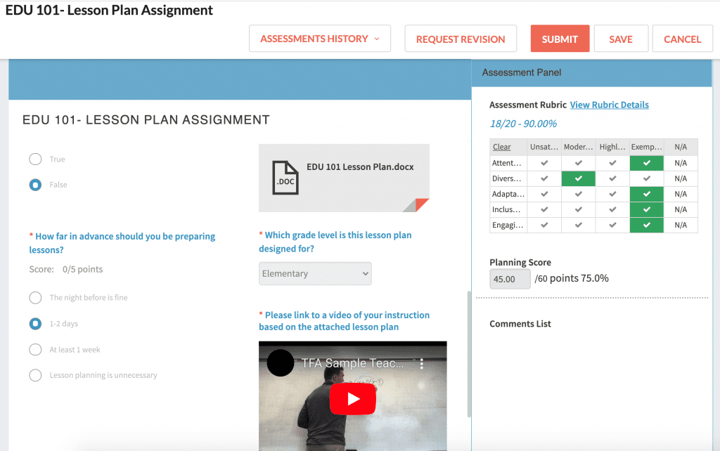 Via EDU 101 Lesson Plan Assignment with Assessment Panel 2