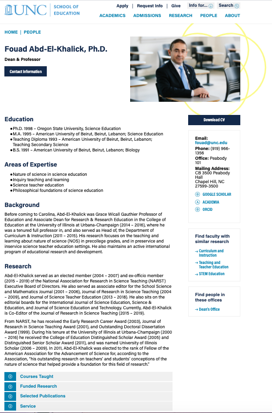Faculty Web Profiles Showcase - UNC web profile