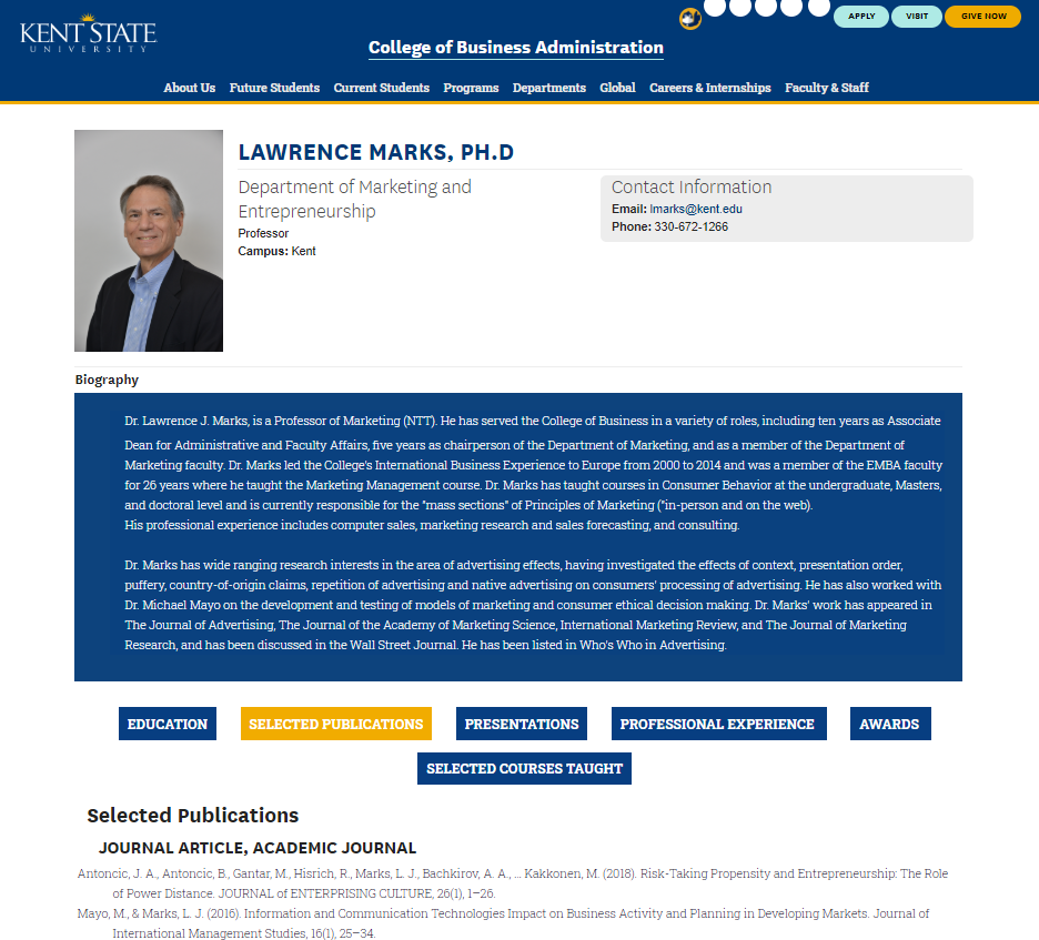 faculty web profile - Kent State University showcase